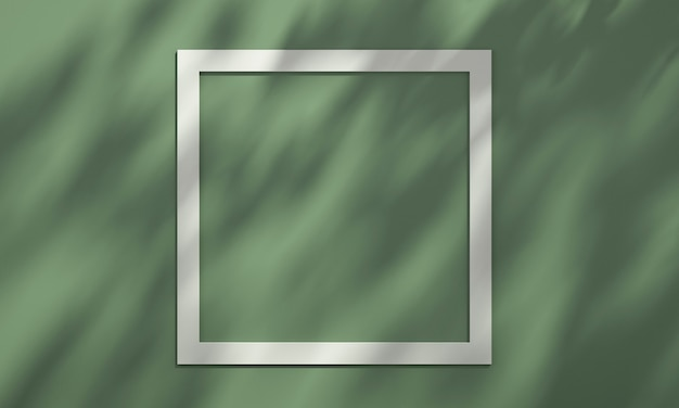3d-fotolijst op plank met boomschaduw op groene en oranje muur, mockupachtergrond voor zomerproduct, 3d renderillustratie