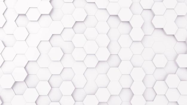 3d futursitics rendering witte abstracte honingraat willekeurige oppervlakte niveau achtergrond met verlichting en schaduw. bovenaanzicht