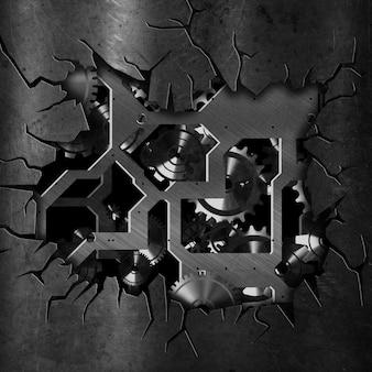 3d gebarsten grunge metalen achtergrond met tandwielen en versnellingen