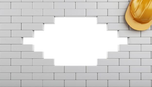 3d gebroken bakstenen muur met helm, die op witte achtergrond wordt geïsoleerd