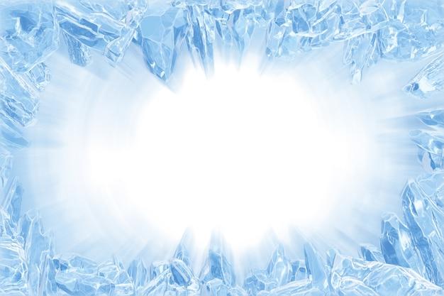 3d, gebroken blauwe kristallen ijsmuur met gat