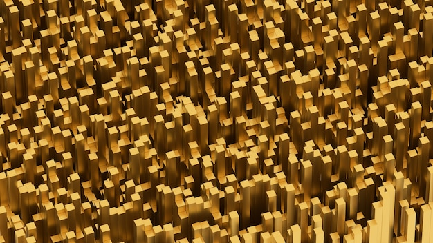 3d geef abstract achtergrondpatroon vele gouden voorwerpen terug