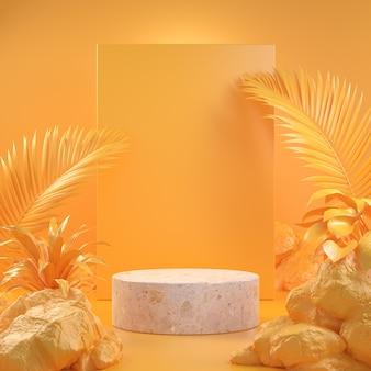3d geef abstract mockup leeg podium met gele bosconceptenillustratie als achtergrond terug