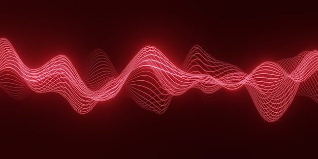 3d geef abstracte achtergrond met een rode golf van stromende deeltjes over donkere, vlotte lijnen van de krommevorm terug
