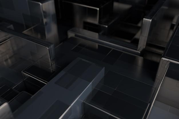 3d geef abstracte achtergrond terug. willekeurige schaal van rechthoekige metalen vormen. eenvoudige primitieven gekloond met elkaar overlappen.