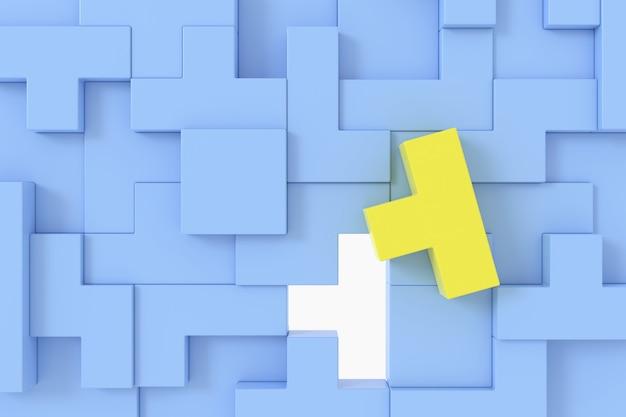 3d geef abstracte gele kubus vorm onder de blauwe achtergrond van kubusvormen terug