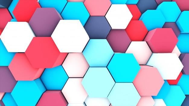 3d geef abstracte pastelkleur kleurrijk terug vele technische geometrische zeshoeken als achtergrond.