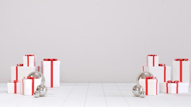 3d geef beeld van de scène van kerstmis giftbox terug voor exemplaarruimte.