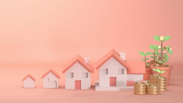 3d geef beeld van huis het groeien op mooie roze achtergrond verfraaien met het muntstukgeld van de boomboom terug.