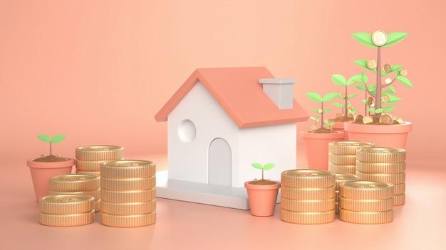 3d geef beeld van huis het groeien verfraaien met het muntstukgeld van de boomboom terug.