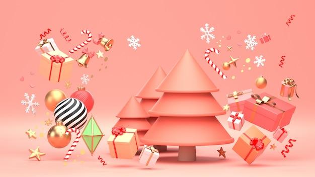 3d geef beeld van kerstmisontwerp terug voor kerstmisvakantie verfraai door ornament geometrische vorm en giftbox.