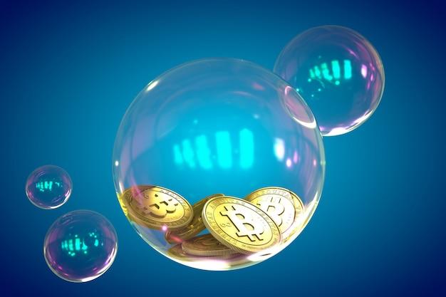 3d geef bitcoins in een zeepbel op blauw terug.