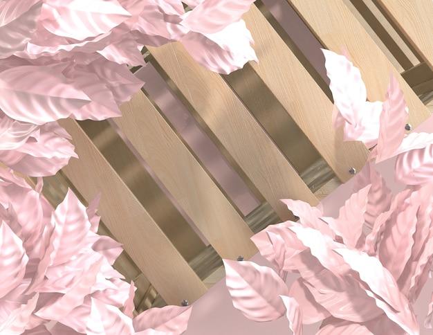 3d geef de abstracte roze achtergrond van kleuren geometrische bladeren, minimalistisch model voor podiumvertoning terug