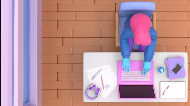 3d geef de mens met laptop zittend op de stoel terug gebruikend laptop voor het online werk of lerend onderwijs terwijl quarantaine