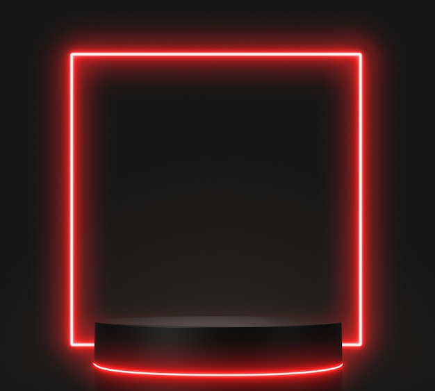 3d geef geometrische, gloeiende lijnen, tunnel, rode neonlichten, abstracte achtergrond, met zwart podium terug.