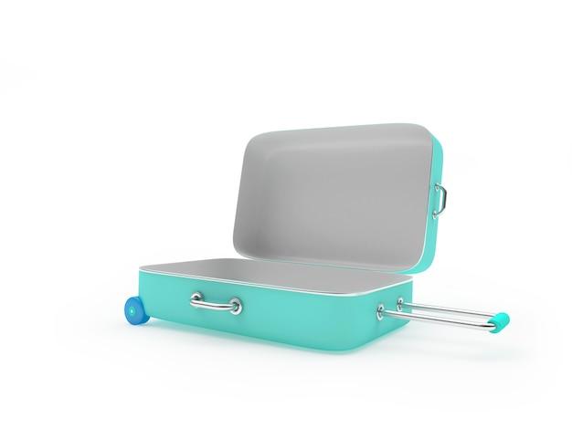 3d geef geopende lichtblauwe koffer terug die op witte achtergrond wordt geïsoleerd