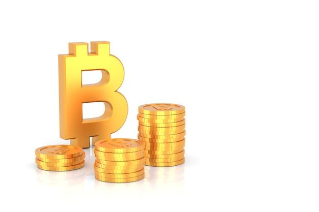 3d geef gouden bitcointeken en gouden muntstapels op witte achtergrond terug