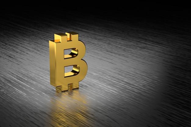 3d geef gouden bitcointeken op donkere houten achtergrond terug