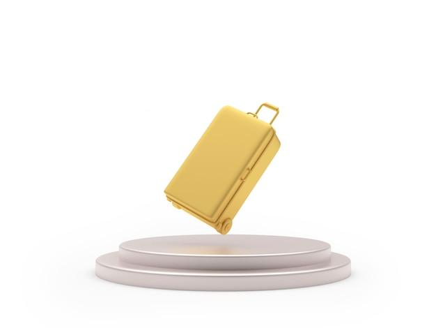 3d geef gouden koffer terug die op podium drijft dat op witte achtergrond wordt geïsoleerd