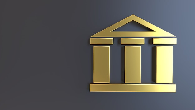 3d geef gouden symbool bankhof terug