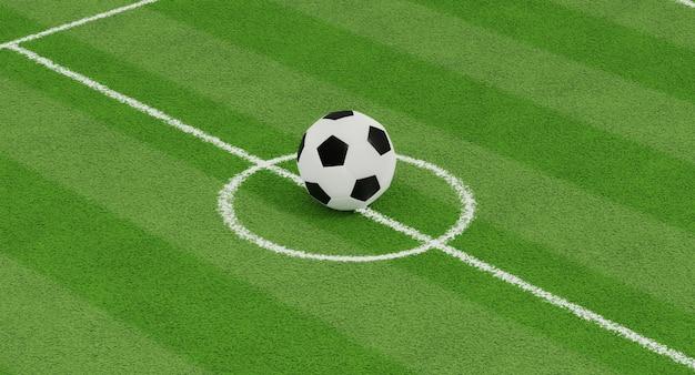 3d geef grote voetbalballen op de achtergrond van het voetbalgebied terug