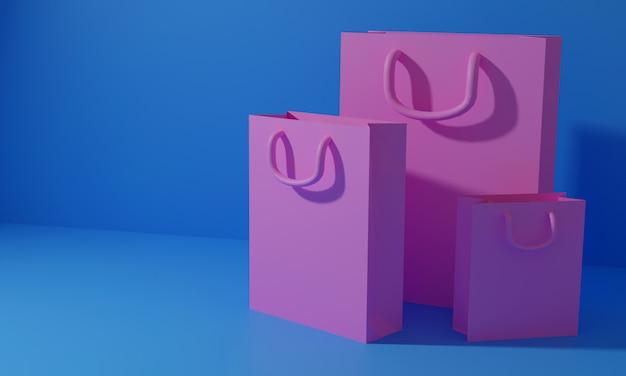 3d geef het winkelen zak, online het winkelen en valentijnskaartconcept terug. 3d-afbeelding. 3d weergegeven