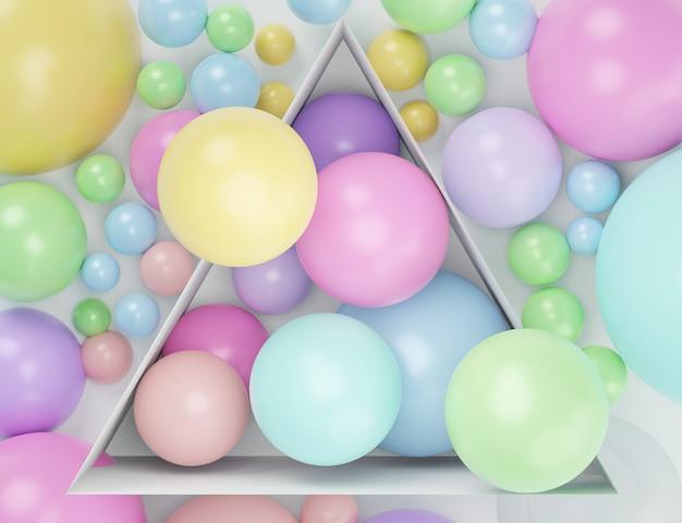 3d geef hoogste mening terug van kleurrijke pastelkleurballen die binnendoos met witte achtergrond bevatten.