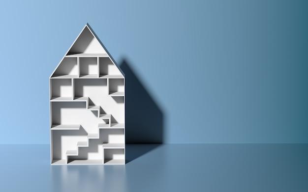 3d geef huisstuk speelgoed op blauwe achtergrond terug. huis financiële dienst