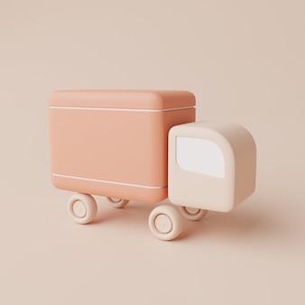 3d geef illustratie van verschepende vrachtwagen terug
