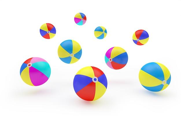3d geef kleurrijke strandballen terug die op witte achtergrond worden geïsoleerd