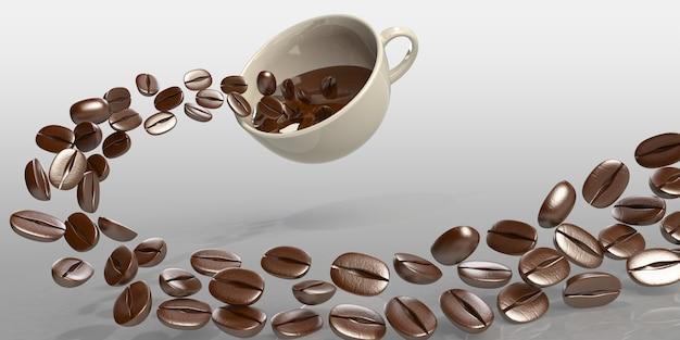 3d geef koffiebonen terug in een kop met vloeibare koffieplons op witte achtergrond