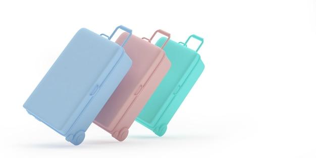3d geef lichtblauwe, roze en muntkoffers terug die op witte achtergrond worden geïsoleerd