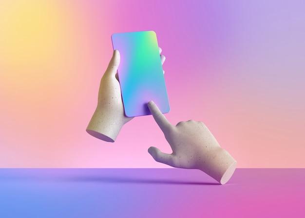 3d geef mannequinhanden terug die slimme telefoongadget, elektronisch apparaat houden dat op kleurrijke pastelkleurachtergrond wordt geïsoleerd.