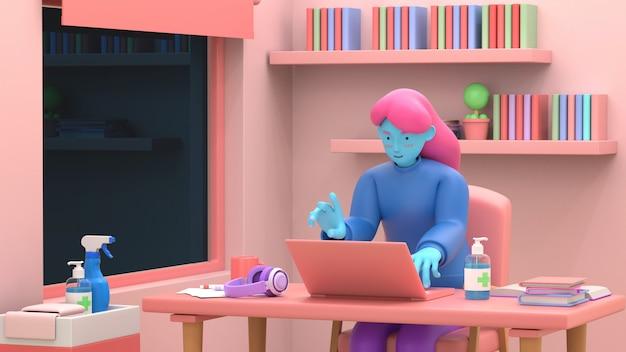 3d geef meisje met laptop zitting op de stoel terug gebruikend laptop voor het online werk of lerend onderwijs terwijl quarantaine van coronavirus covid-19. freelance of bestuderend concept. leuke 3d-afbeelding stijl.