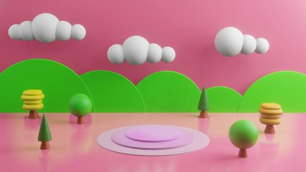 3d geef met bergen en bomen op roze achtergrond terug, leeg stadium abstract concept als achtergrond