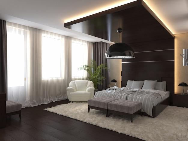 3d geef moderne slaapkamer in een privé huis terug