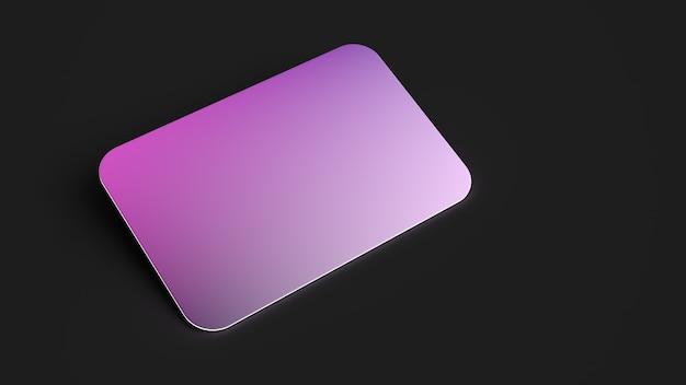 3d geef naamkaart terug purpere roze gloed op zwarte