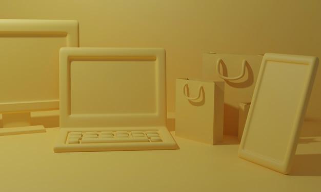 3d geef online het winkelen concept met apparaat en het winkelen zak terug. 3d-weergave