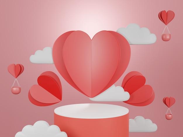 3d geef podium voor valentijnskaart terug.