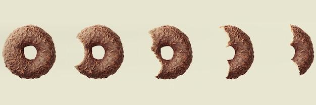 3d geef proces terug om een chocoladedoughnut op lichte banner als achtergrond te eten