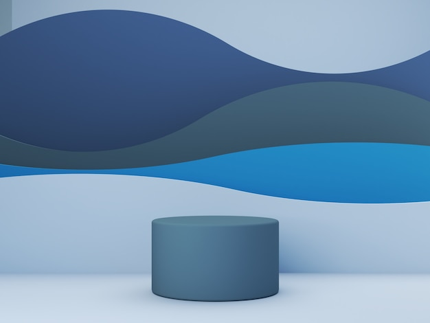 3d geef scène met blauwe geometrische vormen en krommen op achtergrond voor kosmetisch product terug