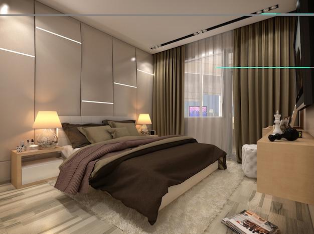 3d geef slaapkamer in een privé huis in bruine en beige kleuren terug