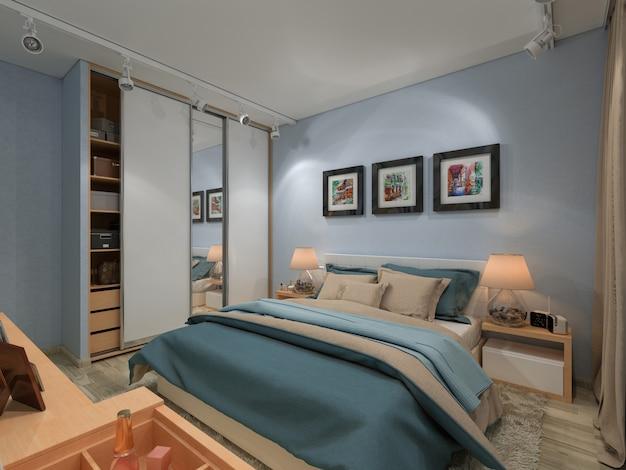 3d geef slaapkamer in een privé huis terug