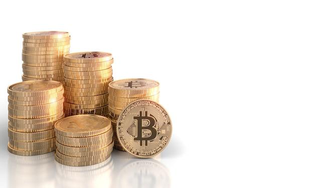 3d geef stapels bitcoin gouden muntstukken op een wit terug.