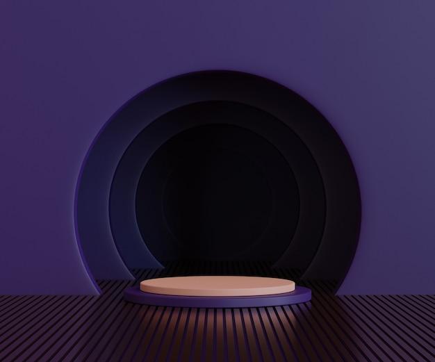 3d geef terug, abstracte purpere achtergrond met geometrisch vormpodium voor product, minimaal concept
