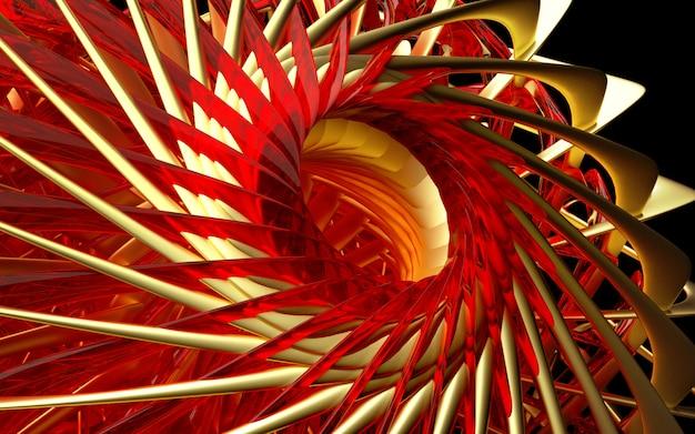 3d geef van abstract deel van surrealistisch turbinestraalmotormechanisme terug met gedraaide scherpe bladen in goud mat metaal met rode glasdelen op zwarte achtergrond