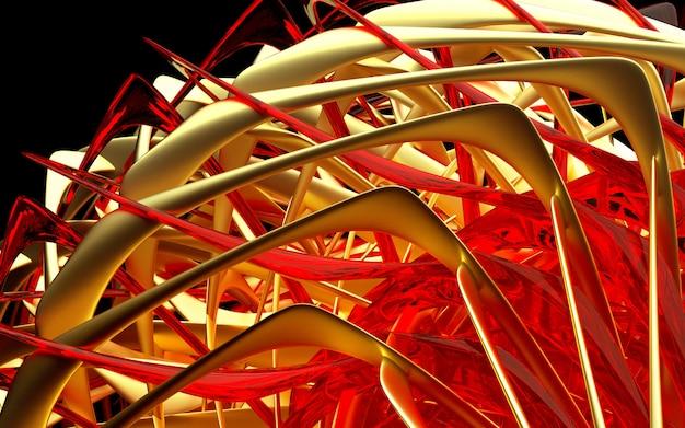 3d geef van abstract deel van turbinemotormechanisme terug met gedraaide bladen in gouden en rode glasmaterialen op zwarte achtergrond