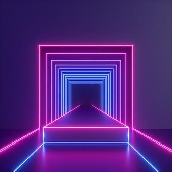 3d geef van abstract neonlicht met heldere gloeiende lijnen binnen vierkante tunnel terug