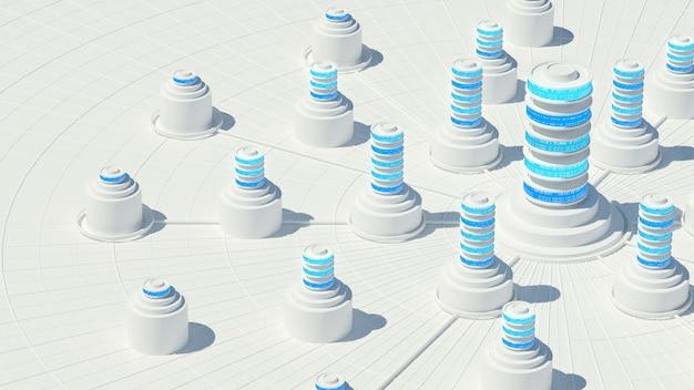 3d geef van abstract opslagconcept terug. server- of gegevenscentralisatieverwerking.