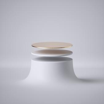 3d geef van abstract wit drijvend futuristisch platform terug